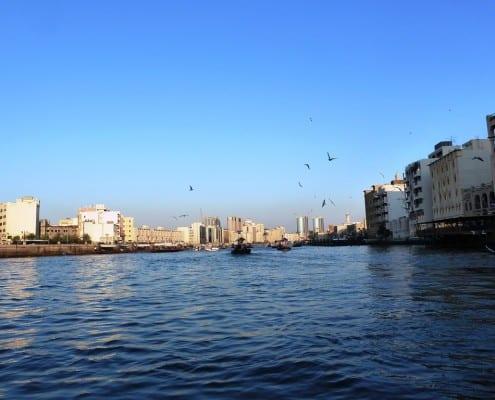 Bild vom Boot aus den Soak in Dubai mit vielen Gebäuden im Hintergrund