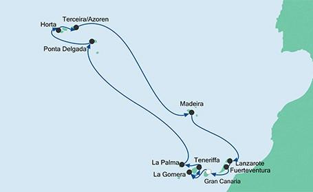Kreuzfahrt-AIDAcara_Azoren-Kanaren_Route_Reisebuero-Alextravel